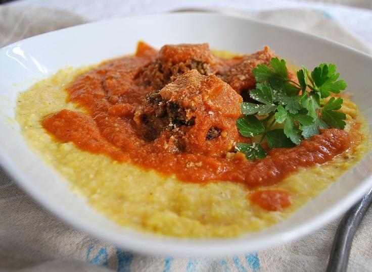 Lentil-Mushroom 'Meatballs' w/Creamy Polenta..vegan and gluten free!