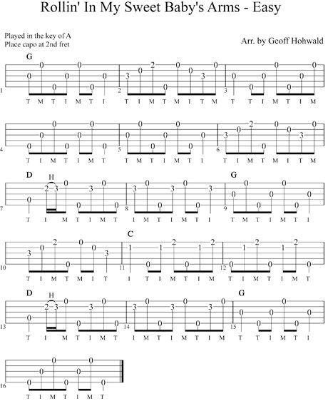 Rollinu0026#39; in My Sweet Babyu0026#39;s Arms (Easy) Beginners banjo tab : Banjo : Pinterest