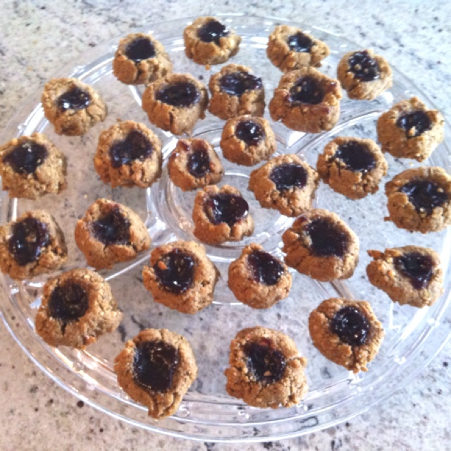 "Flourless"" Peanut Butter + Jelly Cookies I tweaked the recipe a tad ..."