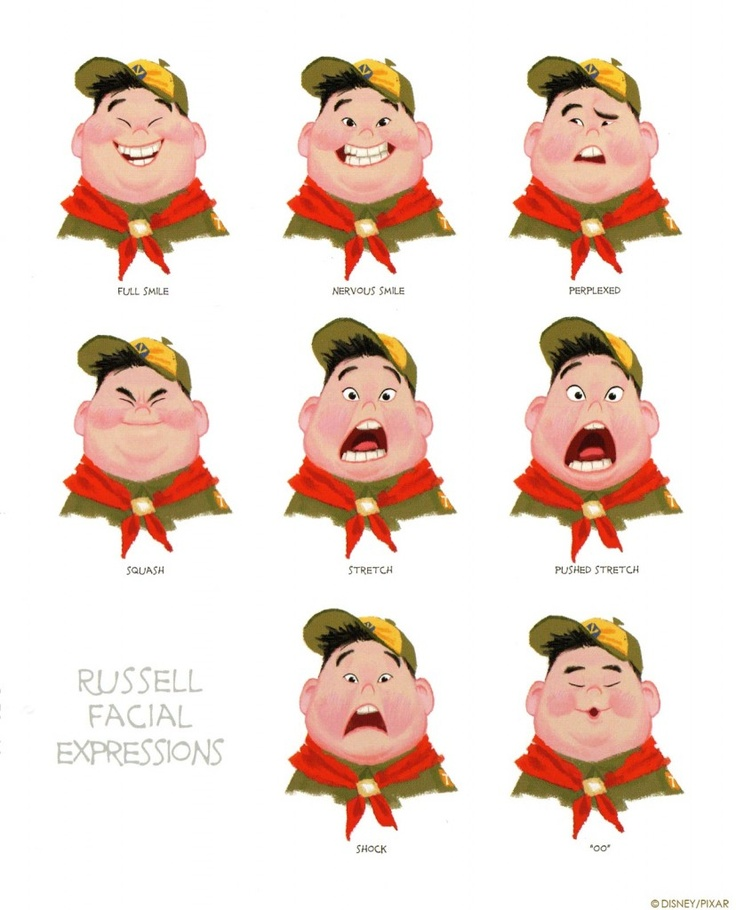 Russel facial expressions |concept art from  up|