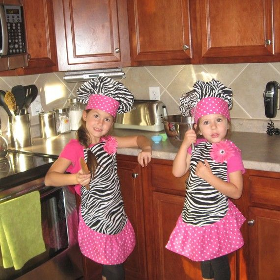 Girls Boutique Zebra Apron and Hat by OSoDarling on Etsy, $25.00