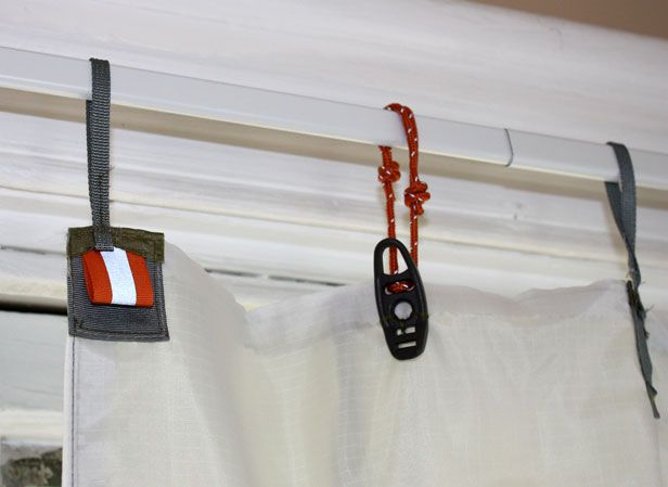 upcycled curtain from old tent - hooks