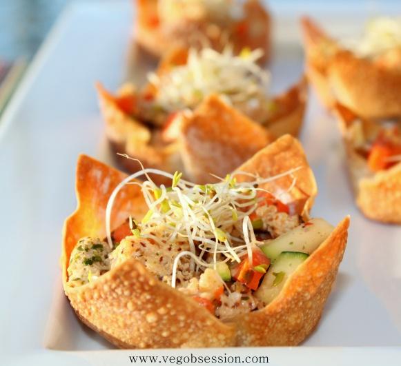 Spicy Crab In Wonton Cups Recipe — Dishmaps