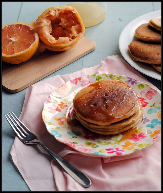 ... Pancakes With Roasted Rhubarb Cardamom Compote Recipe — Dishmaps