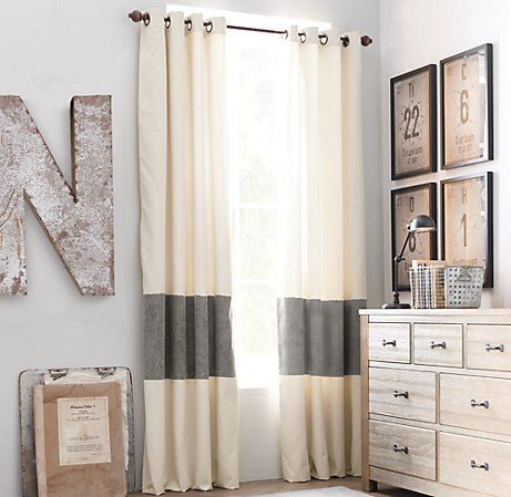 Buy curtains, cut them, and put a strip of contrasting fabric in the middle.- loveeeeeeeeeeeee this whole room too