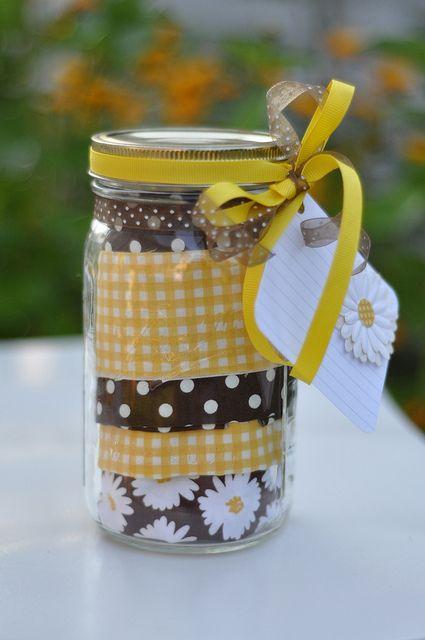 Put an apron in a mason jar and write out a recipe. Wonderful gift idea!!!