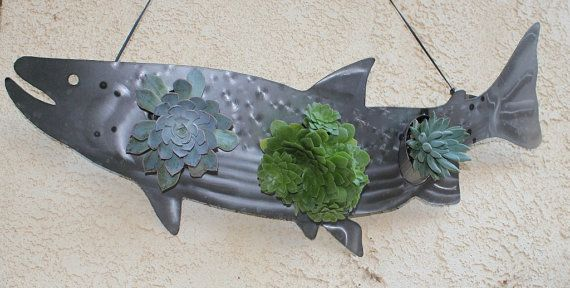 Awesome steel metal fish salmon trout succulent living wall art sculp