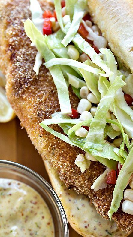 Spicy & Crispy Cornmeal-Crusted Fish Sandwich with Fresh Corn Slaw ...