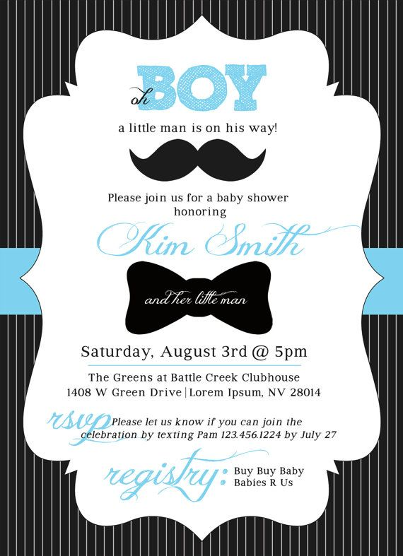 customizable little man baby shower invitation by postersimplicity