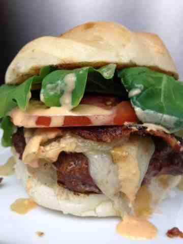 WOW! Ultimate Sriracha Burger. This burger has a lot going on, but ...