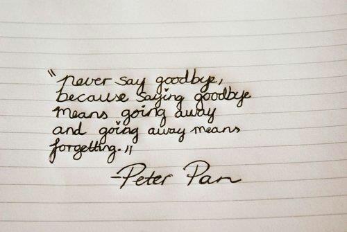 Peter Pan never say goodbye | Movie/TV/Music | Pinterest