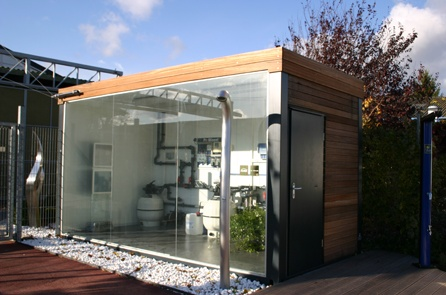 Shipping container bathroom showroom cargotecture for Shipping container public bathroom