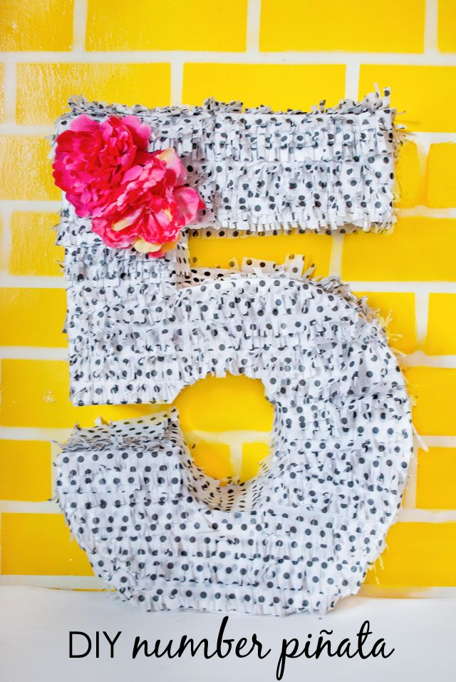 DIY Number Piñata with fringe- {Easy tutorial = no paper mache or box cutters!} #DIY #kidsparty #partyidea