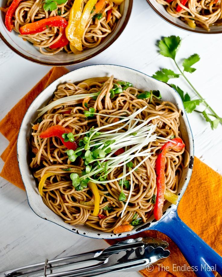 Stir Fried Soba Noodles with Ginger Soy Dressing