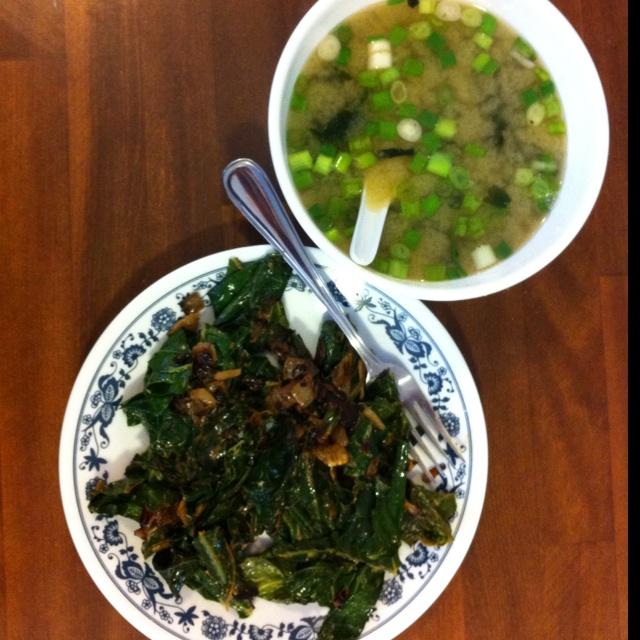 collardgreens & #miso #soup http://Facebook.com/coachlana #wakame ...