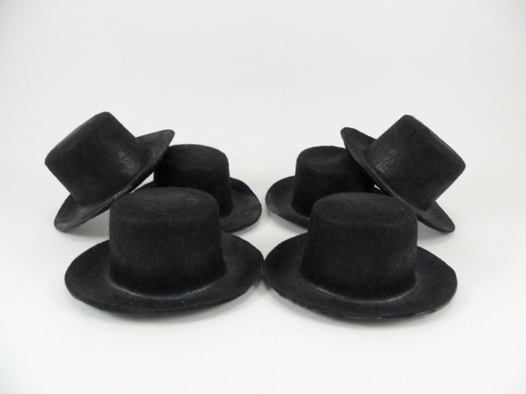 "Black Top Hat 3"" Snowman Cowboy Doll Miniature Felt Hat 6 Pieces"