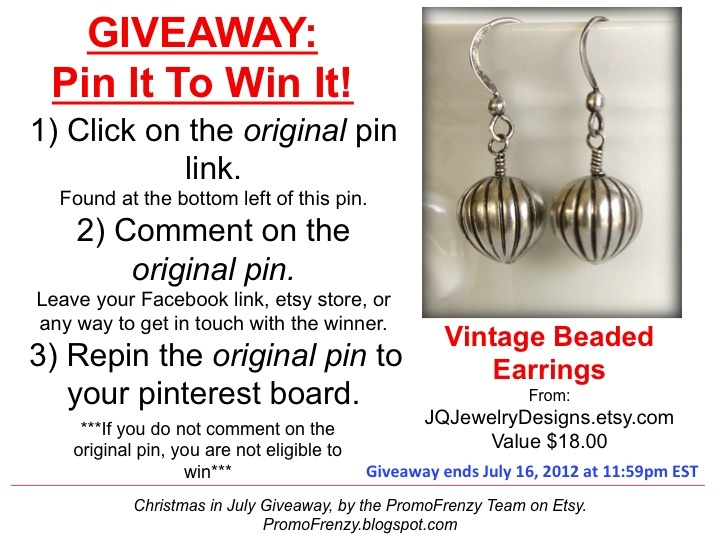 GIVEAWAY - Pin It To Win It: To Win This Item from JQJewelryDesigns.etsy.com - follow the instructions: Click on ORIGINAL pin, comment leaving a way to contact you, REPIN the ORIGINAL Pin! Contest ends 7/16/12 @ 11:59pm EST. Winner announced 7/17/12.