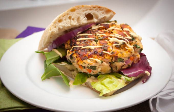 Salmon Crab Burger with Mustard Sauce | Home Sweet Jones