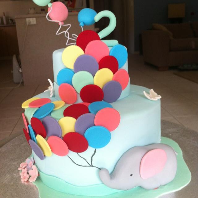Elephant balloon cake Busters 1st birthday Pinterest