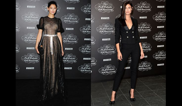... tuxedo and a sequined black dress at the Pirelli Calendar 2014 gala