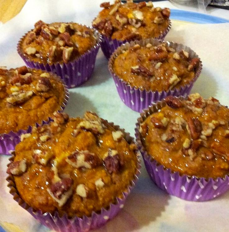 homemade pumpkin pecan muffins with soy cream cheese inside. No sugar ...