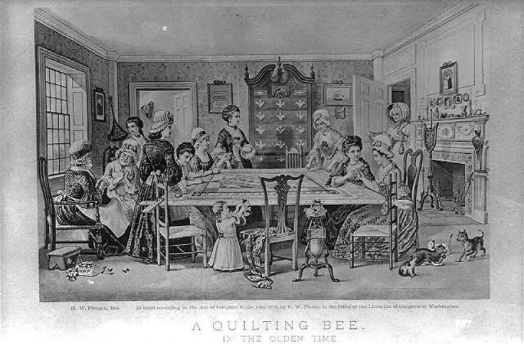 H.W. Pierce., Quilting bee in the olden time, done for centennial exposition, colonial revival