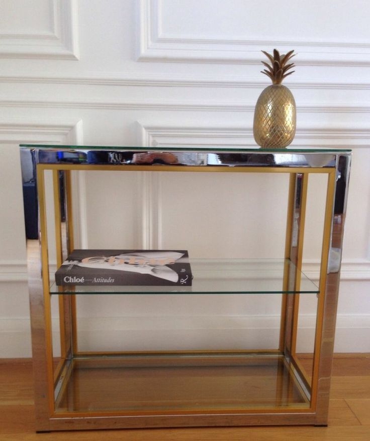 Brass Pineapple Table Lamp ... 1970s Italian Chrome And Gold Etagere Side Table Bookcase Rizzo Era