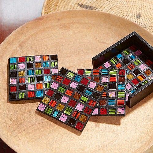 Mosaic Coasters | mosaic art | Pinterest