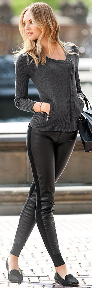 One sided leather tights with sweater and sleepers