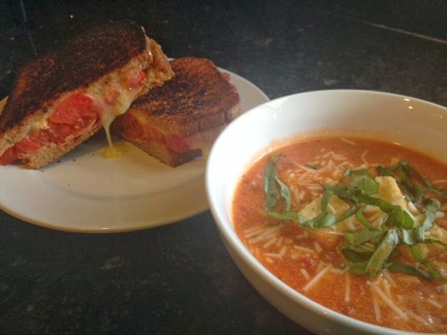 Grilled cheese & tomato soup. Whole wheat with brie, bacon & tomato ...