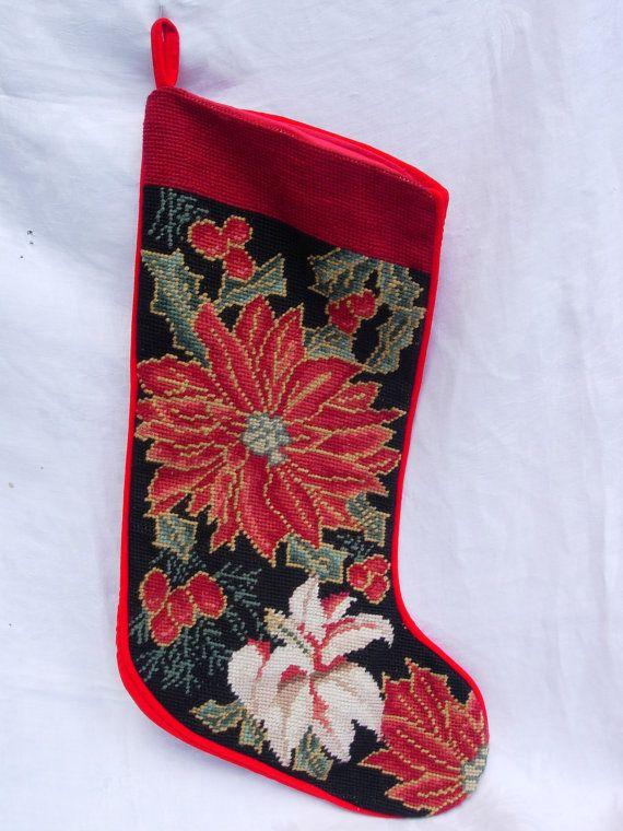 Vintage Poinsettia Needlepoint Christmas Stocking