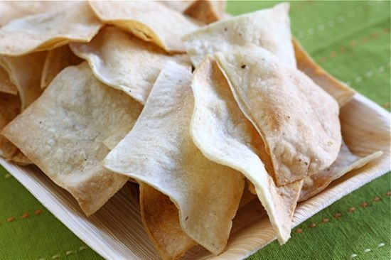 baked tortilla chips--I brush the tortillas with oil instead of ...