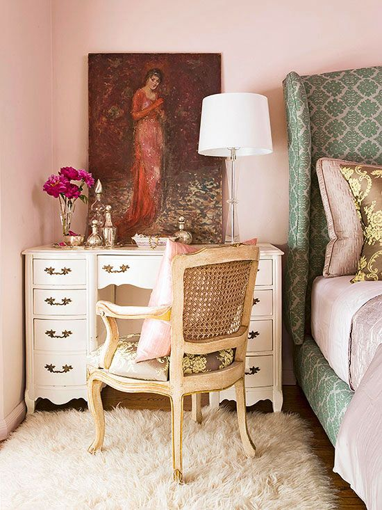 Tuck a vintage writing desk or dressing table next to your bed to gain benefits aplenty: http://www.bhg.com/rooms/bedroom/master-bedroom/master-bedroom-ideas/?socsrc=bhgpin052514thinkprettyandpractical&page=5