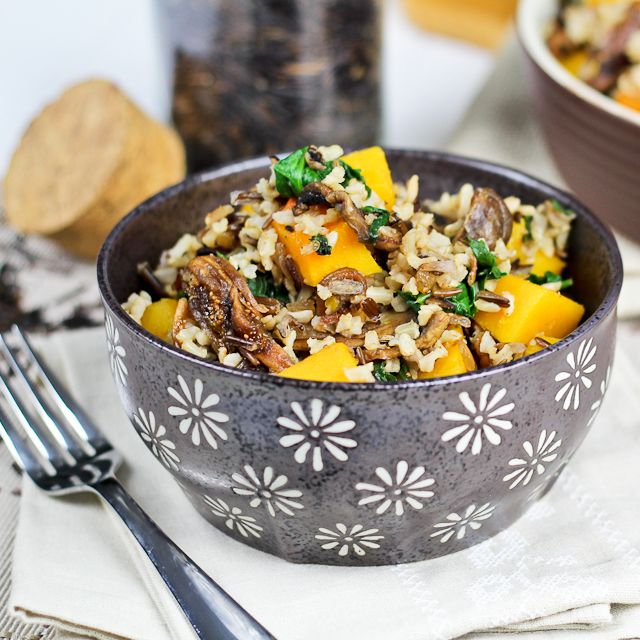 Brown & Wild Rice Dish with Butternut Squash, Spinach and Figs   Reci ...