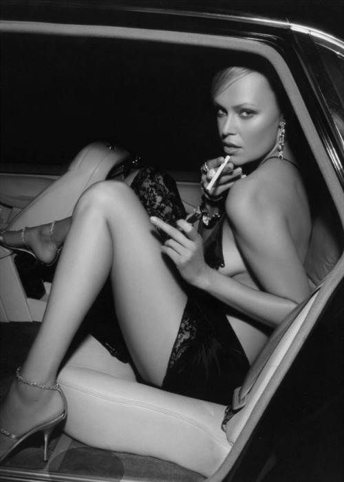Romy Kaufmann hot glamour model smoking in the back seat ...