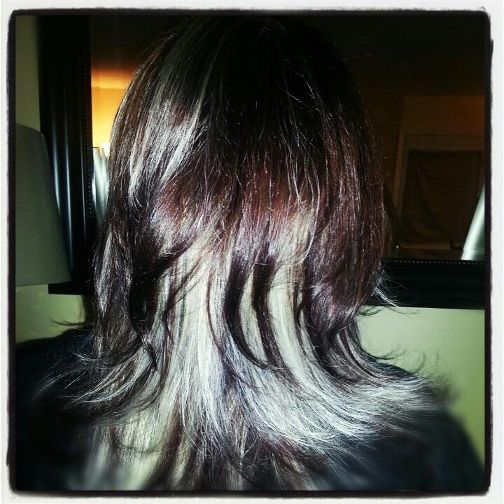 Dark Brown Hair With Platinum Highlights   Bed Mattress Sale