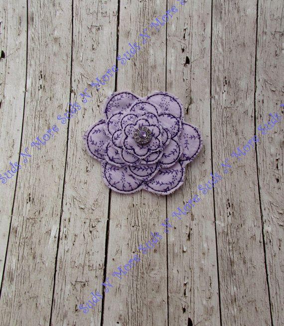 Purple Stacked Fabric Daisy Flower Felt Hair Clip With Rhinestone Cen ...