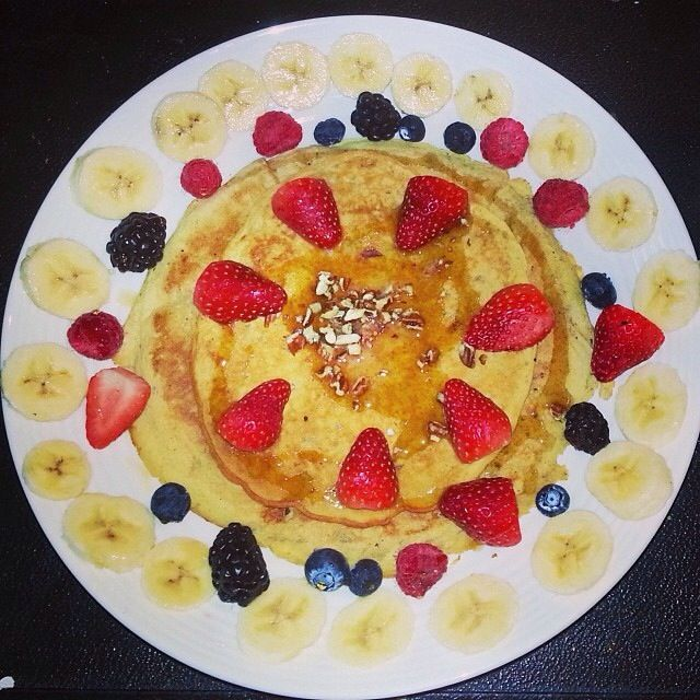 Whole Wheat Pecan Protein Banana Pancakes with Fresh Fruit Vegetarian ...