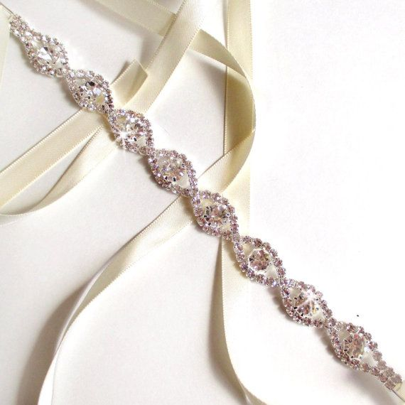infinity rhinestone bridal headband white or ivory satin ribbon