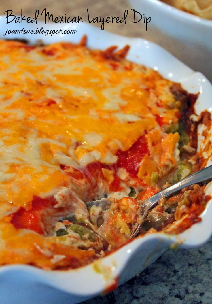 Baked Mexican Layered Dip by joandsue.blogspot.com