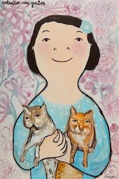 Eva armisén portrait with cats