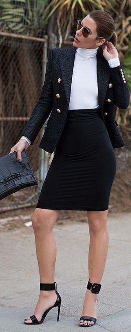 Black Military Inspired Blazer by
