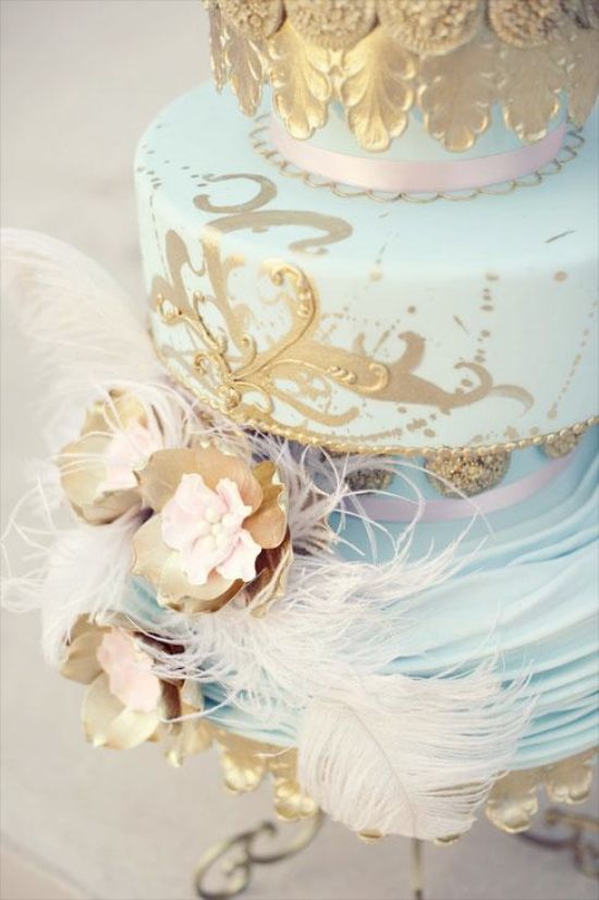 Placid Blue Wedding Cake with gold accents - 2014 colours