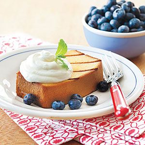 Grilled Pound Cake with Lemon Cream and Blueberries | MyRecipes.com