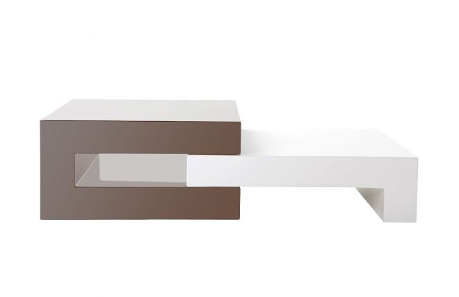 Table basse design laqu?e taupe extensible LUNA  Zoom