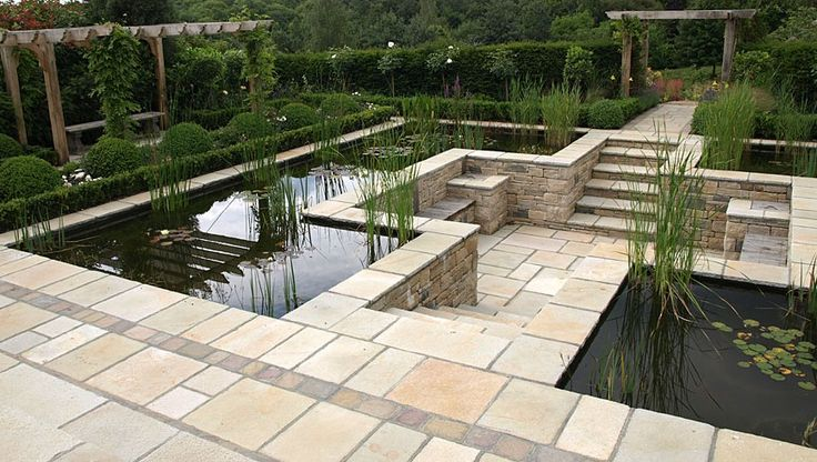 Raised Garden Ponds Design : Formal pond w sunken seating & viewing area  incredible stonework