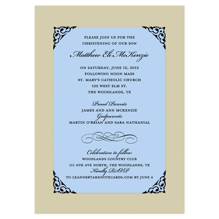 Fancy Frame Corners Blue Baptism Invitation