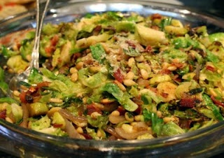 me. -1/2 lb sliced bacon -2/3 cup pinenuts -2 lbs brussel sprouts ...