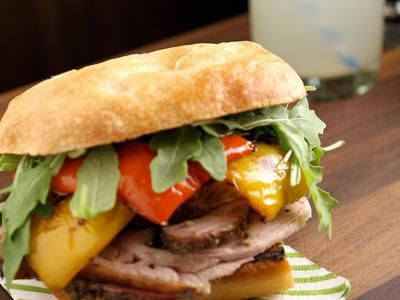 Porchetta Sandwiches with Roasted Peppers and Arugula on Ciabatta ...