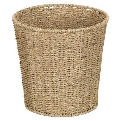 Seagrass waste basket natural bathroom pinterest for Waste baskets for bathroom